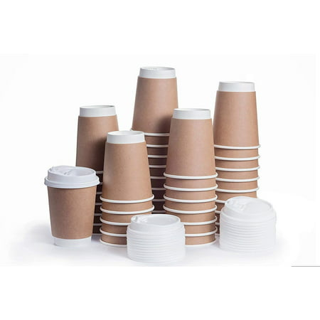 Disposable Coffee Cups With Snap Lids In Bulk Double Walled Thermal Insulation Paper Travel Cup Cover For Hot Beverages Like Tea Cocoa 100