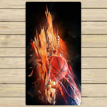 - ZKGK Fire Basketball Art Hand Towel Bath Towels Beach Towel For Home Outdoor Travel Use Size 30x56 Inches