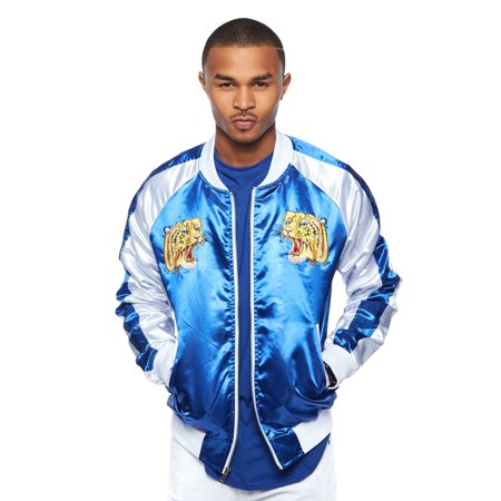 79c7028ae Mens Shiny Color Block Animal Embroidered Bomber Jacket UBJ