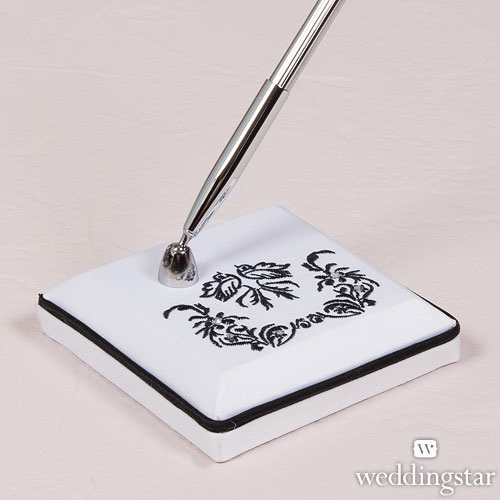 Weddingstar 9223 Love Bird Damask in Classic Black and White Pen with Base