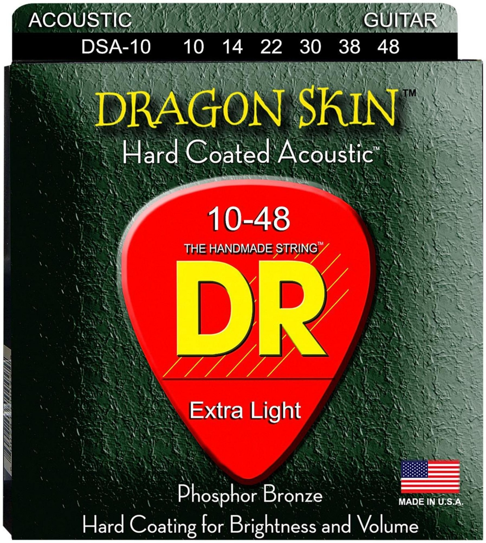 DR Strings DSA-10 Dragonskin K3 Coated Acoustic Strings Light by DR Strings