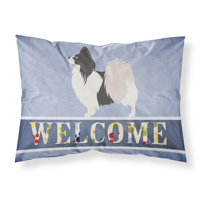 Carolines Treasures BB8322PILLOWCASE Papillon Welcome Fabric Standard Pillowcase - image 1 of 1