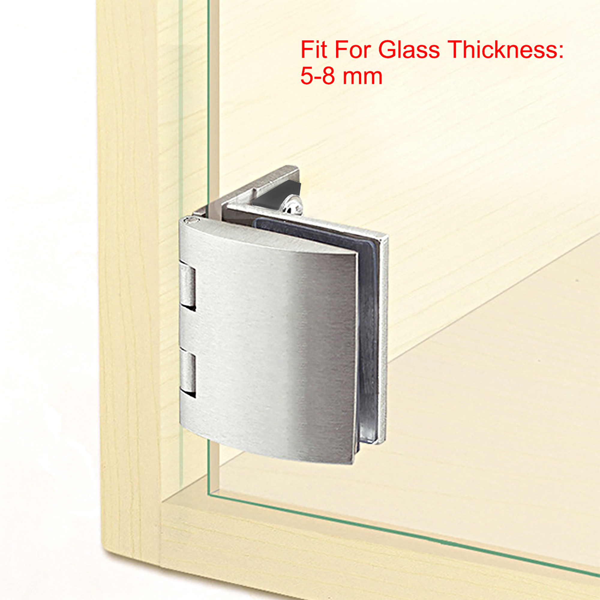 Uxcell Glass Hinge Showcase Door Hinge Glass Clamp for 5-8mm Thickness 2Pcs - image 3 of 5