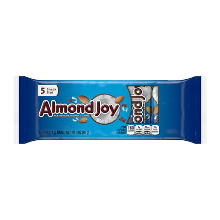 Almond Joy Snack Size Milk Chocolate Coconut & Almond Candy, 3 Oz., 5 Count