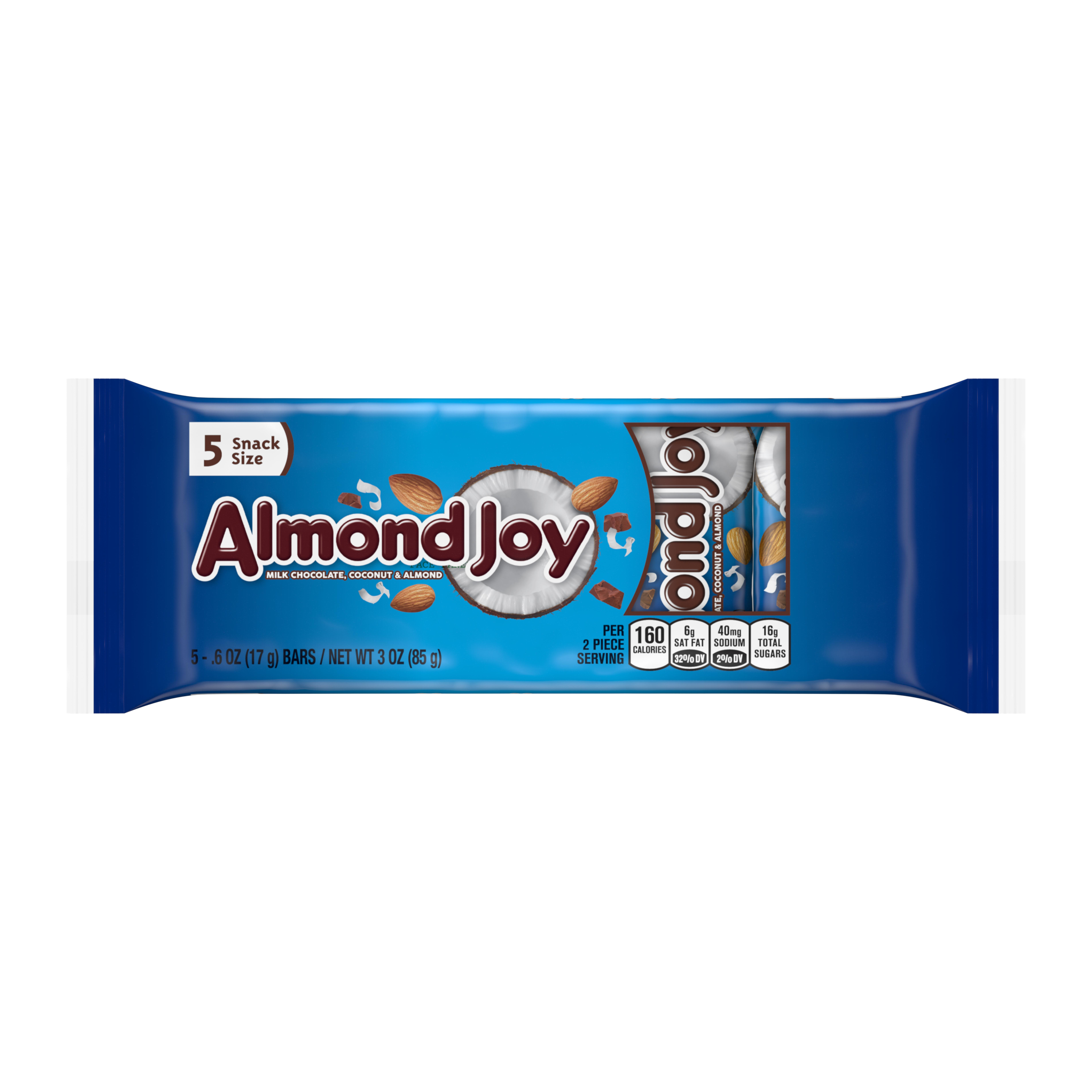 Almond Joy, Milk Chocolate Coconut & Almond Candy Snack Size, 3 Oz, 5 ct