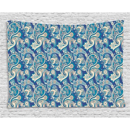 Paisley Tapestry, Authentic Asian Inspired Floral Persian Fashion Boho Art Illustration Print, Wall Hanging for Bedroom Living Room Dorm Decor, 60W X 40L Inches, Teal Navy and Tan, by - Asian Inspired Wall Art