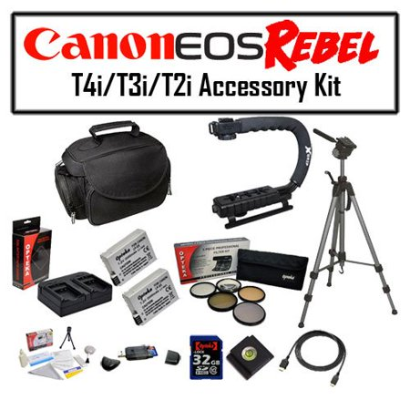 Deluxe Accessory Kit for Canon EOS Rebel T2i T3i T4i T5i DSLR Digital Camera with Opteka Gadget Bag, Opteka X-Grip Handle, 2x of Opteka LP-E8 LPE8 High Capacity Battery Pack, Full Size Tripod and More