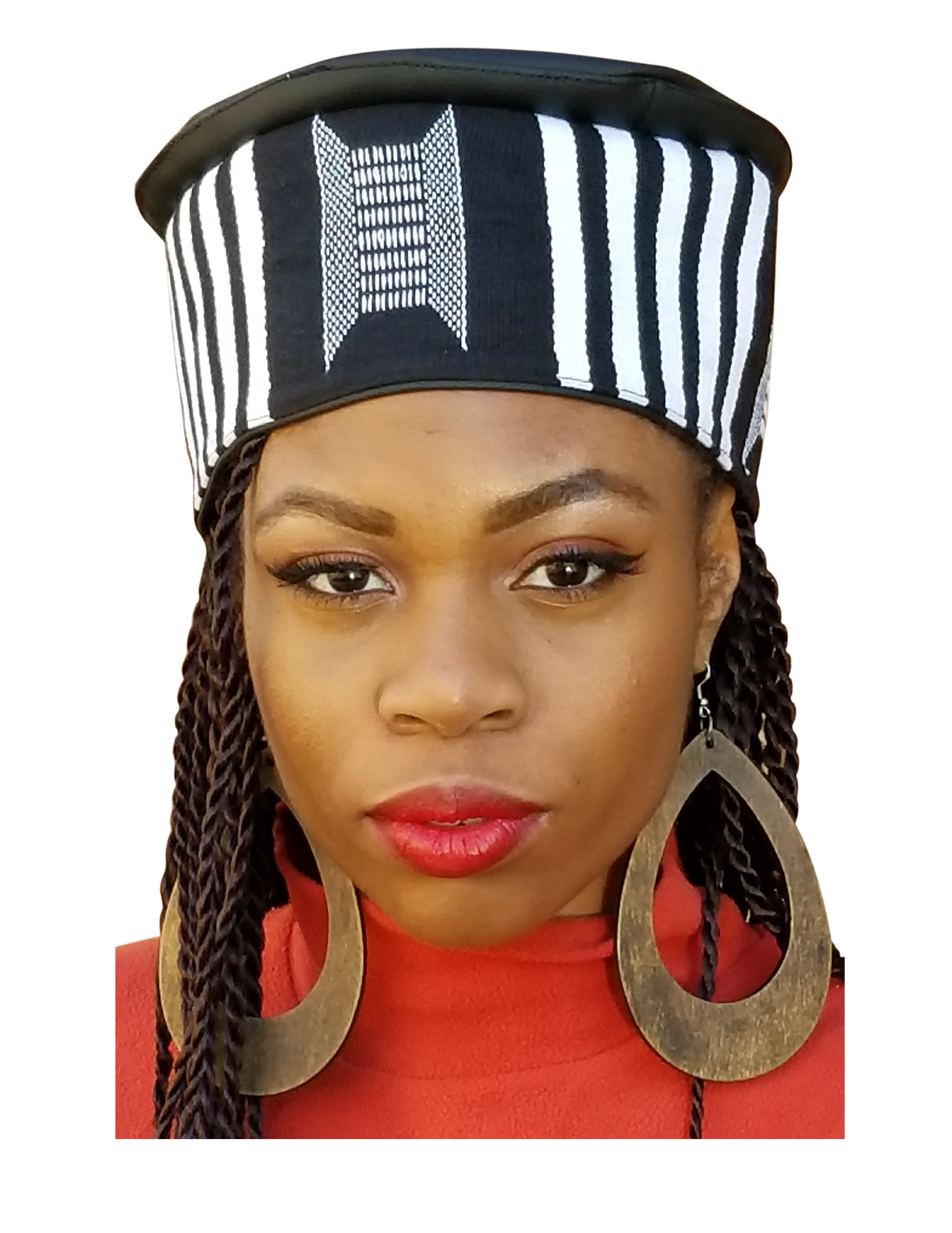 Dupsie S White And Black African Hand Woven Kente Kufi Hat With Faux Leather Walmart Com Walmart Com