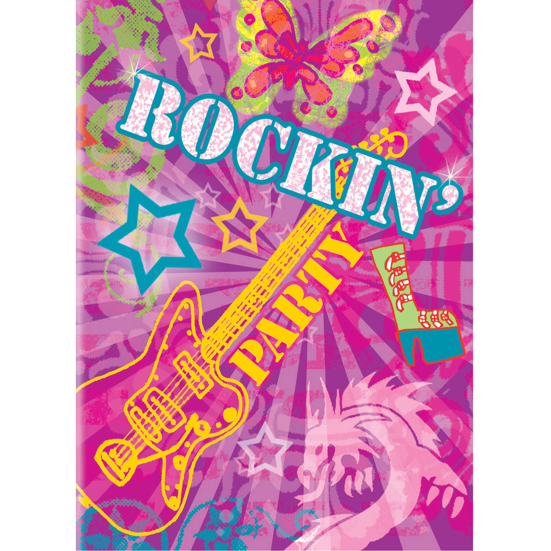 Unique Rock On Rockstar Birthday 9 Favor Bags 8 Ct Purple Pink Party Favors