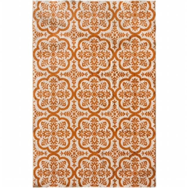 Central Oriental 2301NT58.084 Terrace Tropic 084 Contoy 100 Percent Heat Set Polypropylene Rug, Snow & Tangerine - 5 ft. x 7 ft. 3 in. - image 1 of 1