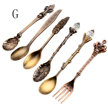 Vintage Royal Style Metal Carved Mini Coffee Teaspoons Fruit Fork Kitchen Accessories 6Pcs](Gold Spoons And Forks)