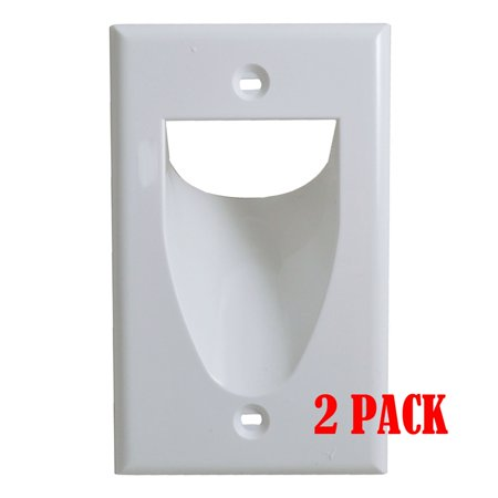- White 1-Gang Recessed Low Voltage Audio Video Cable Pass Through Wall Plate 2/pk