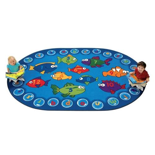 "Fishing For Literacy Oval Rug - 113"" Length x 81"" Width - Oval"