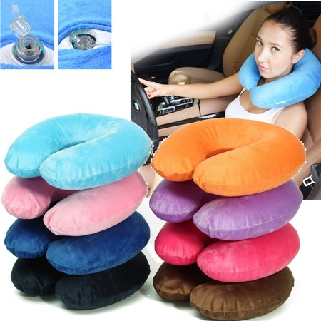 Portable Inflatable U-shape Pillow Cushion Shoulder Neck Relief Support For Travel Office Plane Sleeping (#Black:EPS Particles)
