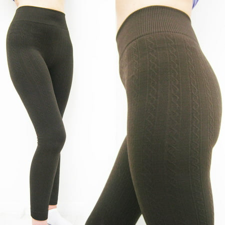 Cable Knit Cotton Sweater Skinny Stretch Footless Leggings Pants Winter Warm New ()