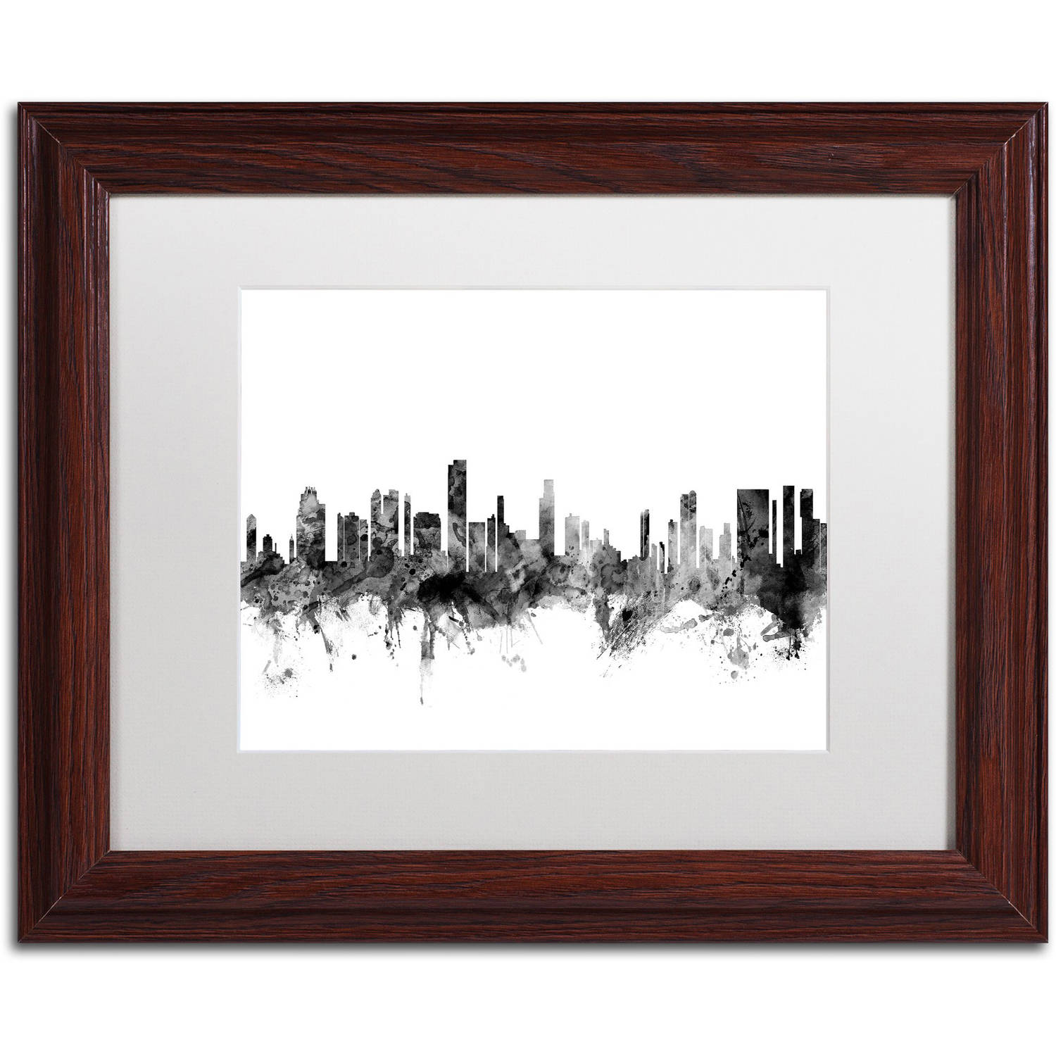 "Trademark Fine Art ""Honolulu Hawaii Skyline B&W"" Canvas Art by Michael Tompsett, White Matte, Wood Frame"