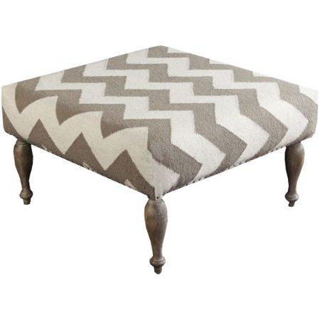 Surya FL1019 Wool Upholstered Square Ottoman
