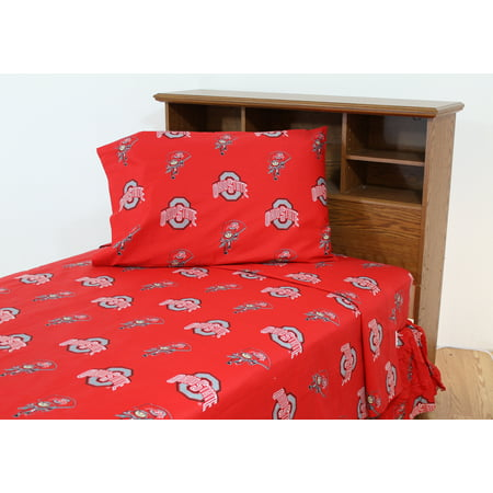 Ohio State Buckeyes 100% cotton, 3 piece sheet set - flat sheet, fitted sheet, 1 pillow case, Twin, Team Colors