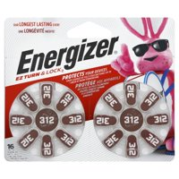 Energizer Hearing Aid Batteries, EZ Turn & Lock Size 312 (16 Pack)