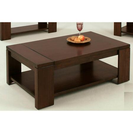 Progressive Furniture Castered Rectangular Cocktail Table   Vintage Walnut