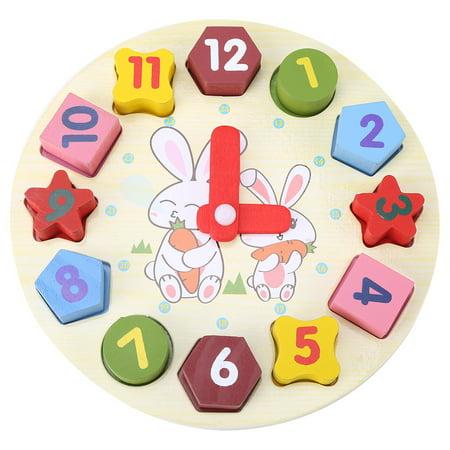 HERCHR Children Cartoon Rabbit Puzzle Educational Wooden Digital Geometry Clock Toy Set,Children Puzzle Clock, Geometry Clock Toy, Shape Paired Cartoon Rabbit Child Early Education Digital Clock (Education Toy)