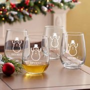 Personalized Holiday Stemless Wine Glasses, Set of 4