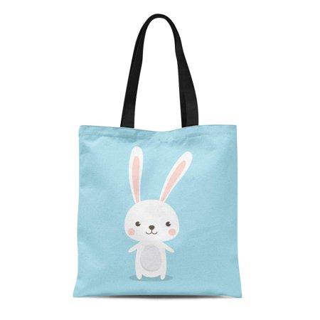 ASHLEIGH Canvas Tote Bag Blue Happy Easter Bunny Cute Rabbit Cartoon Character Green Reusable Shoulder Grocery Shopping Bags Handbag Easter Bunny Rabbit Green