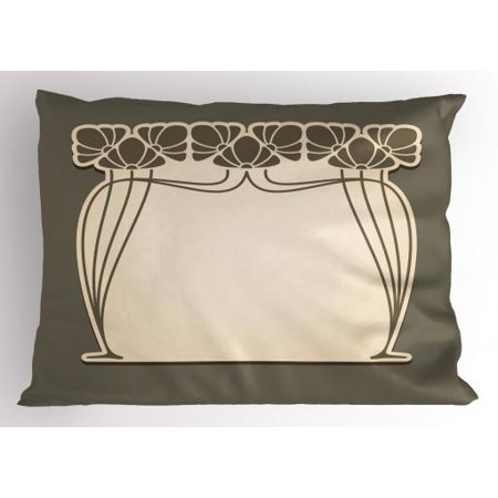 Art Nouveau Pillow Sham Flower Bouquets Forming an Arch Vintage Style Feminine Old Fashioned, Decorative Standard Size Printed Pillowcase, 26 X 20 Inches, Cream Umber Brown, by Ambesonne - Decorative Arch