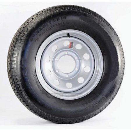 Radial Trailer Tire On Rim  5242 225 75R15 225 75 15 6Lug Silver Modular