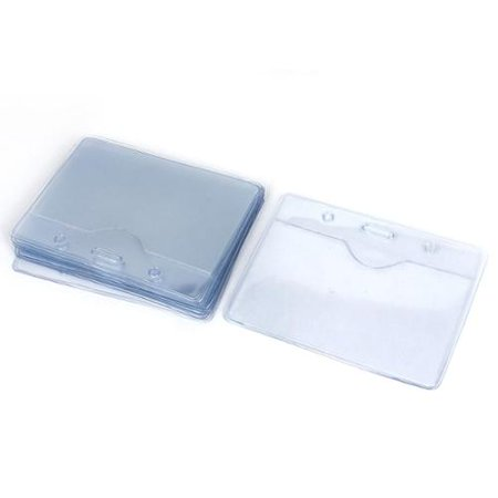 Clear Plastic Horizontal Company Name Tag Exhibition Badge ID Card Holder 10PCS - Plastic Name Badge Holders