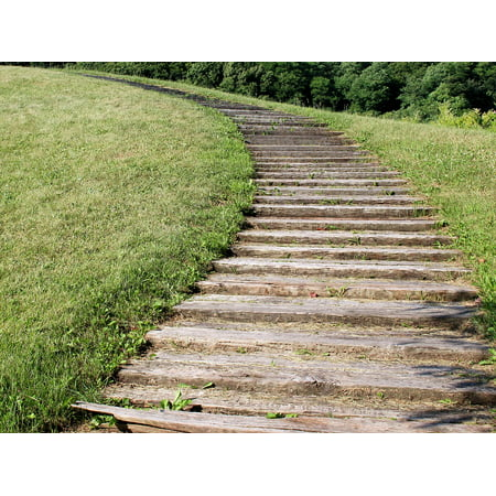 Canvas Print Outdoors Green Landscape Stairs Views Wood Aging Stretched Canvas 10 x