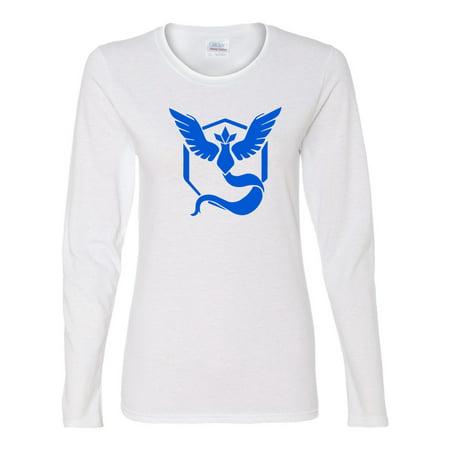 b07d05abe Custom Apparel R Us - Pokemon Go Gym Team Mystic Blue Womens Long Sleeve  Tee T-Shirt Top - Walmart.com