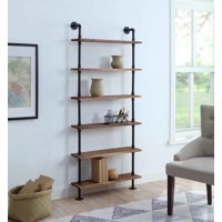 4D Concepts 621160 Anacortes Six Shelf Piping - Black Pipe with Brown Shelves