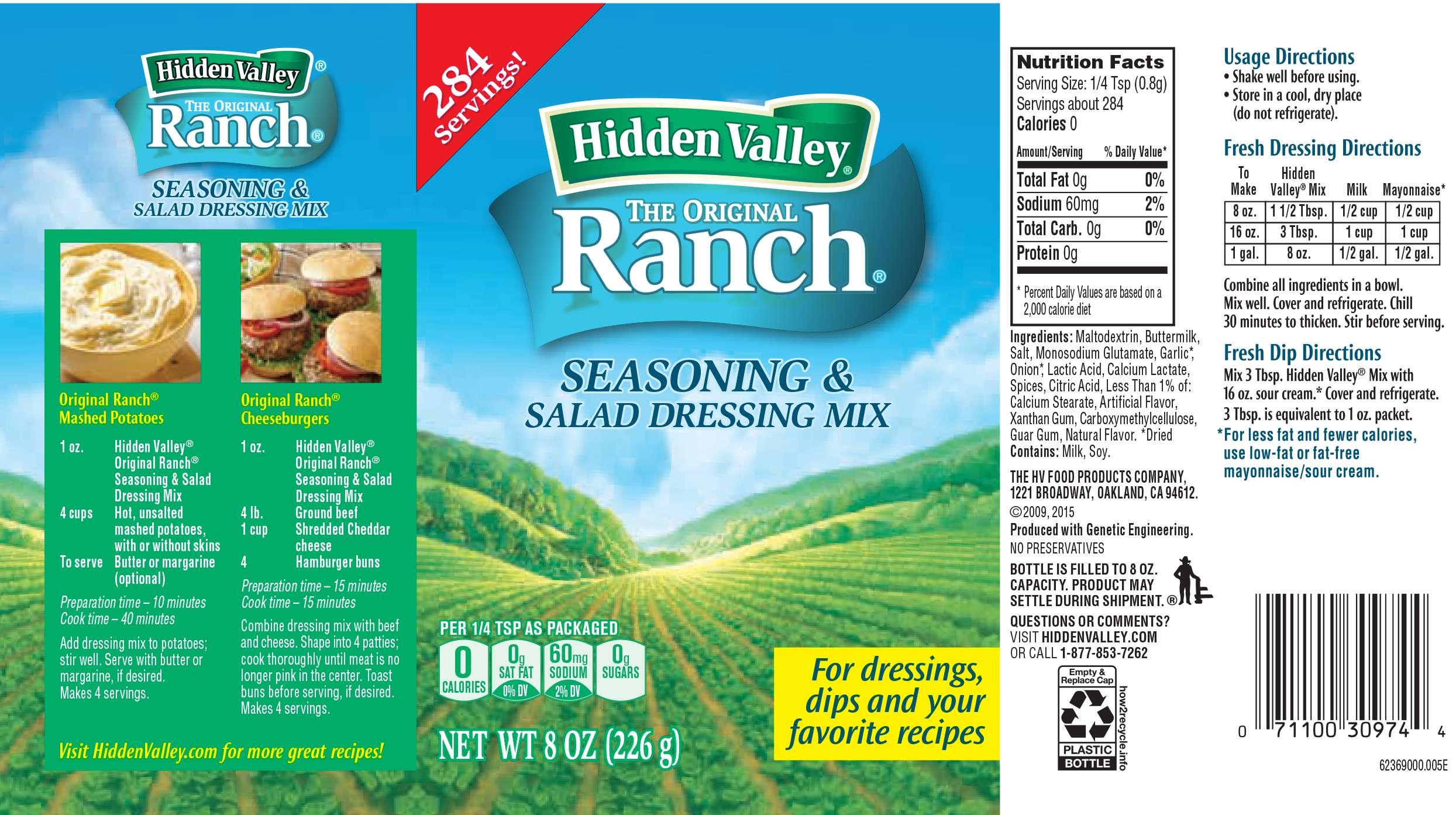 Hidden Valley Original Ranch Salad Dressing Seasoning Mix Gluten Free Keto Friendly 1 Canister Walmart Com Walmart Com