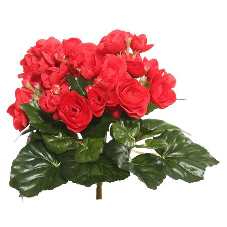 Vickerman 9 5  Red Polyester Begonia Bush With 36 Leaves And 54 Flowers