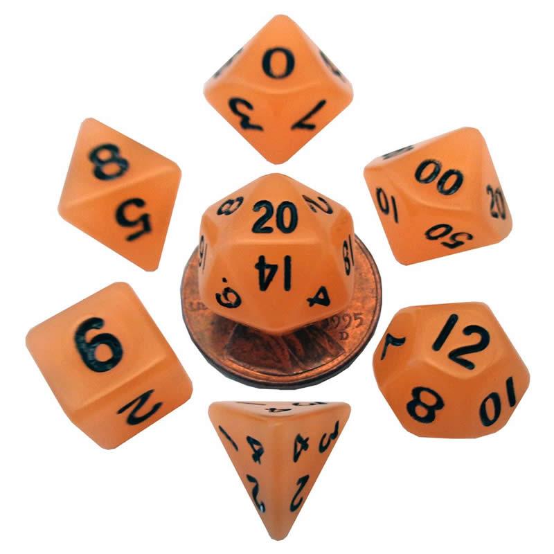 Orange Glow In The Dark Dice with Black Numbers 10mm (3/8in) 7-Dice Set Metallic Dice Games