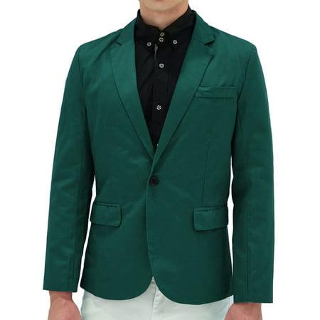 Men's Notched Lapel One-Button Flap Pocket Casual Blazer