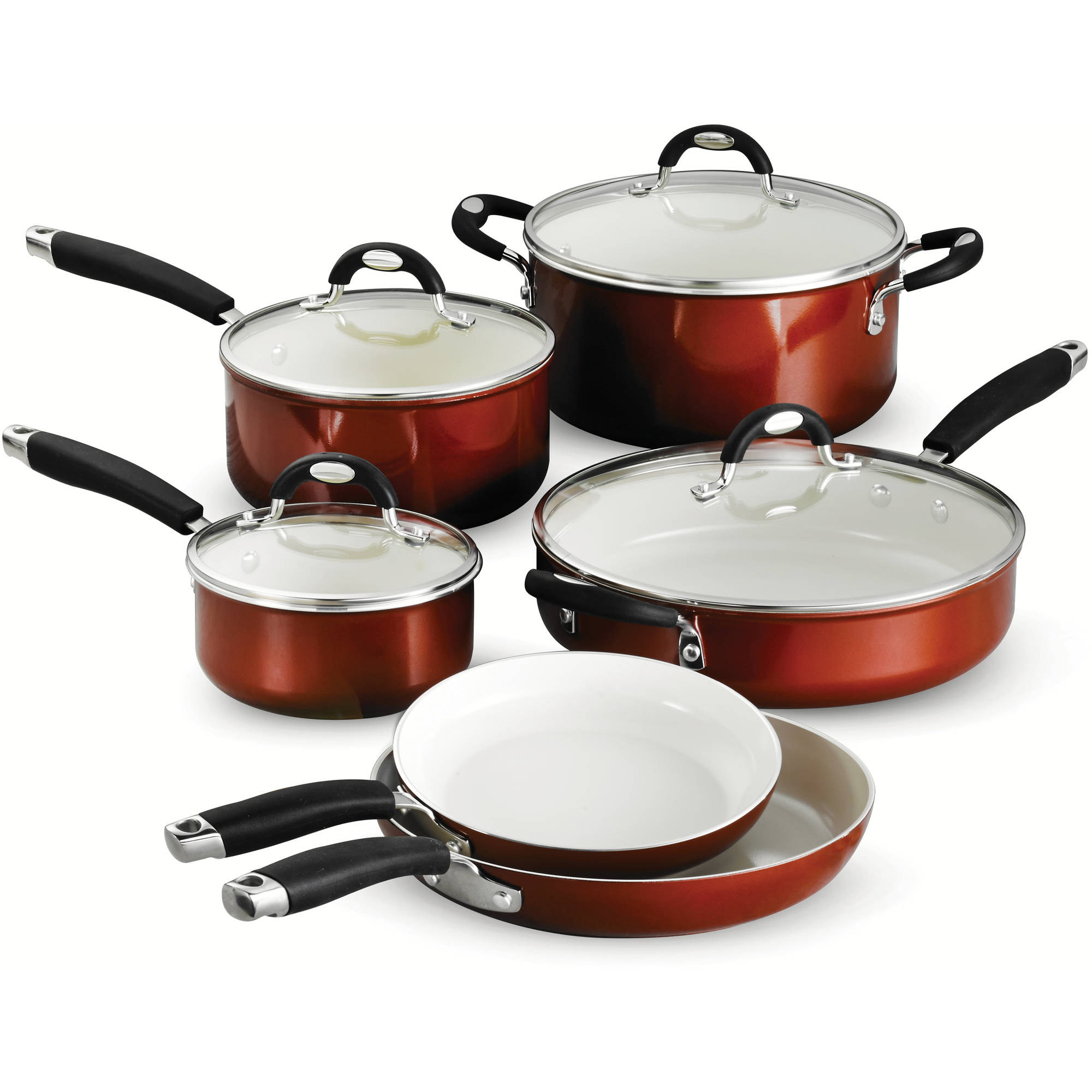 Tramontina Style 10-Piece Cookware Set, Metallic Copper