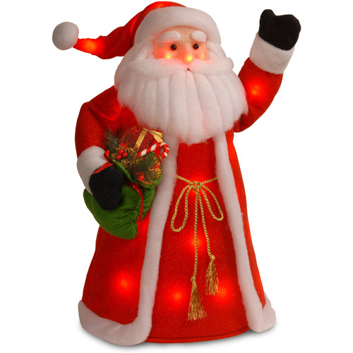 "National Tree 30"" Red Cotton Standing Santa with Green Shirt and Long Coat Holding Presents with 30 Red Flashing Indoor LED Lights"