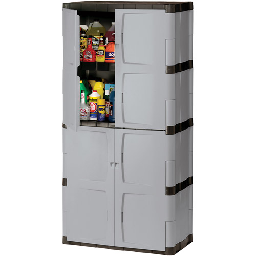 "Rubbermaid FG708300mICHR 72"" Mica and Charcoal Full Double Door Cabinet"