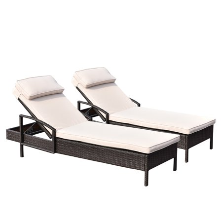 Costway 2 PCS Chaise Lounge Chair Brown Outdoor Rattan Couch Patio Furniture W/Pillow ()