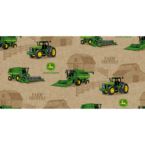 John Deere Cotton Tractor Scenic Fabric, per Yard