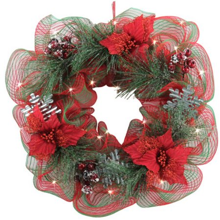 Holiday Time Red Poinsettia Lighted Wreath  26
