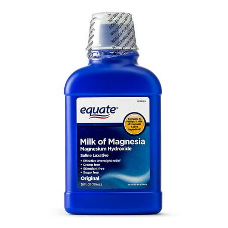- Equate Milk of Magnesia Saline Laxative, Original Flavor, 1200 mg, 26 fl oz