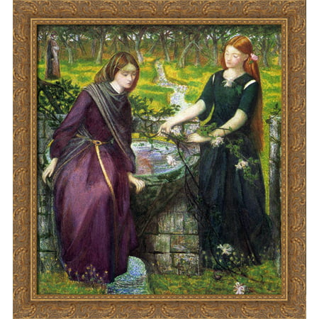 Dantes Vision Of Rachel And Leah 28X30 Large Gold Ornate Wood Framed Canvas Art By Dante Gabriel Rossetti