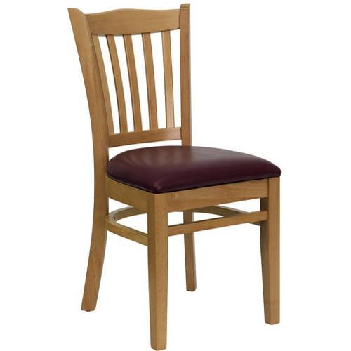 Slat Back Chairs - Set of 2, Natural / Burgundy Vinyl Seat