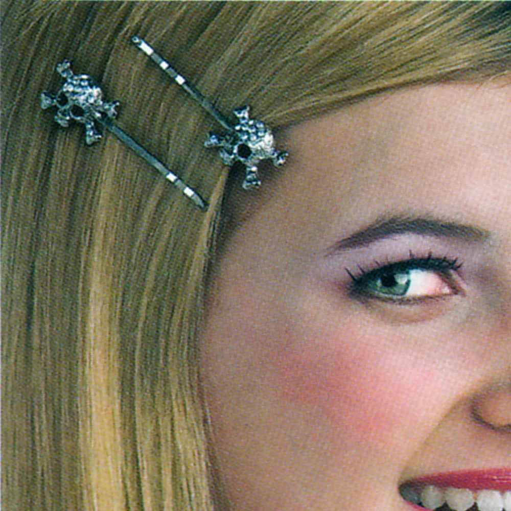 Gothic Accessory Silver Skull Hair Pin with Rhinestone Jewels