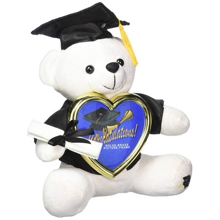 Autograph Graduation Bear (White Graduation Bear with Black Cap and Gown Holding a Picture)