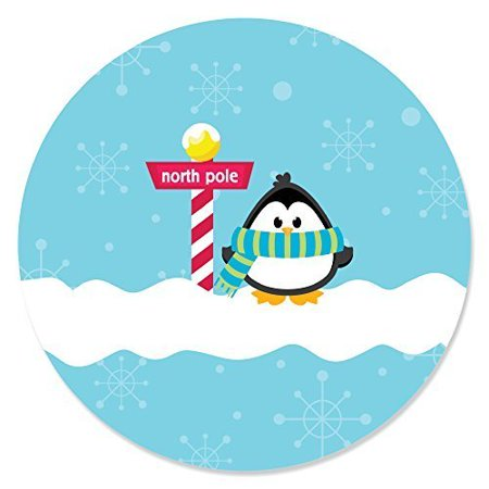Holly Jolly Penguin   Holiday Party Circle Sticker Labels   24 Count