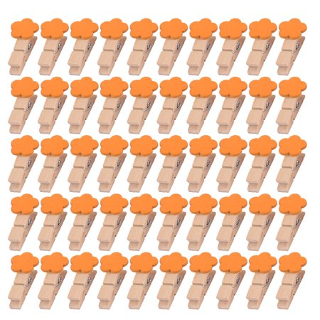Household Wooden Flower Shaped DIY Picture Photo Painting Clip Orange 50 Pcs - image 4 of 4